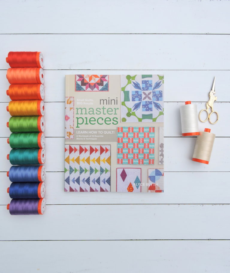 Mini-Masterpieces-book-by-Alyce-Blyth-and-coordinating-Aurifil-thread-collection-768x911